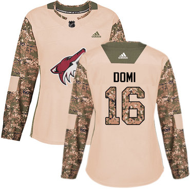 Adidas Coyotes #16 Max Domi Camo Authentic 2017 Veterans Day Women's Stitched NHL Jersey