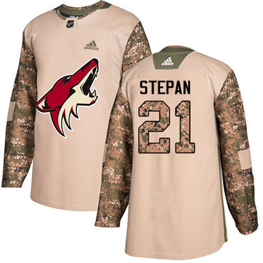 Adidas Coyotes #21 Derek Stepan Camo Authentic 2017 Veterans Day Stitched Youth NHL Jersey
