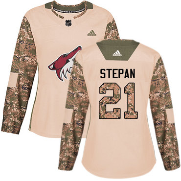 Adidas Coyotes #21 Derek Stepan Camo Authentic 2017 Veterans Day Women's Stitched NHL Jersey