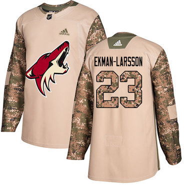Adidas Coyotes #23 Oliver Ekman-Larsson Camo Authentic 2017 Veterans Day Stitched Youth NHL Jersey