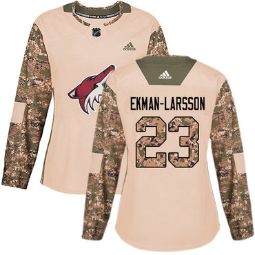 Adidas Coyotes #23 Oliver Ekman-Larsson Camo Authentic 2017 Veterans Day Women's Stitched NHL Jersey
