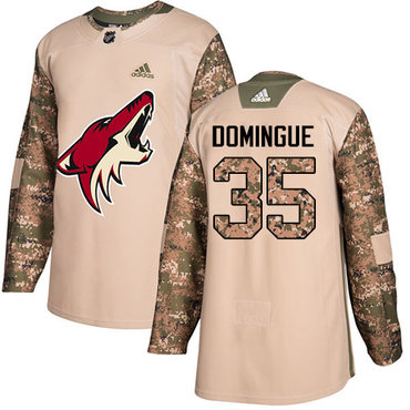 Adidas Coyotes #35 Louis Domingue Camo Authentic 2017 Veterans Day Stitched Youth NHL Jersey