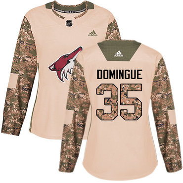 Adidas Coyotes #35 Louis Domingue Camo Authentic 2017 Veterans Day Women's Stitched NHL Jersey