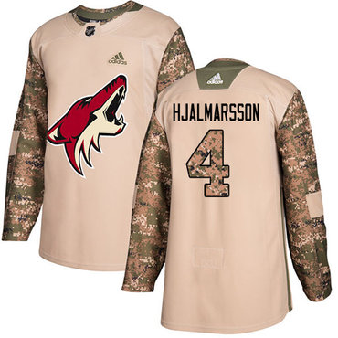 Adidas Coyotes #4 Niklas Hjalmarsson Camo Authentic 2017 Veterans Day Stitched Youth NHL Jersey