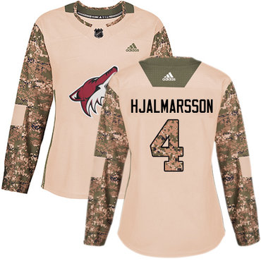 Adidas Coyotes #4 Niklas Hjalmarsson Camo Authentic 2017 Veterans Day Women's Stitched NHL Jersey