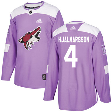Adidas Coyotes #4 Niklas Hjalmarsson Purple Authentic Fights Cancer Stitched NHL Jersey