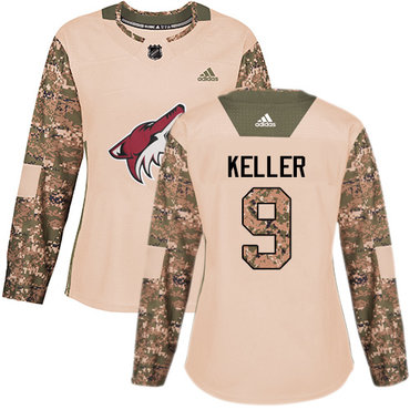 Adidas Coyotes #9 Clayton Keller Camo Authentic 2017 Veterans Day Women's Stitched NHL Jersey
