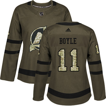 Adidas Devils #11 Brian Boyle Green Salute to Service Women's Stitched NHL Jersey