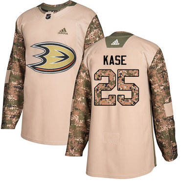 Adidas Ducks #25 Ondrej Kase Camo Authentic 2017 Veterans Day Youth Stitched NHL Jersey