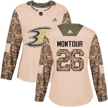 Adidas Ducks #26 Brandon Montour Camo Authentic 2017 Veterans Day Women's Stitched NHL Jersey