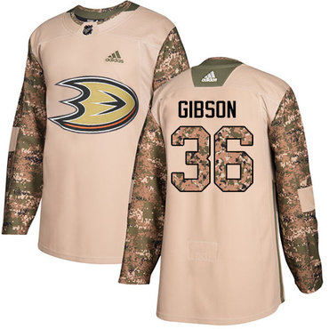 Adidas Ducks #36 John Gibson Camo Authentic 2017 Veterans Day Youth Stitched NHL Jersey