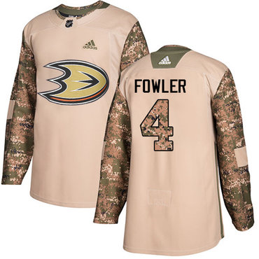 Adidas Ducks #4 Cam Fowler Camo Authentic 2017 Veterans Day Youth Stitched NHL Jersey