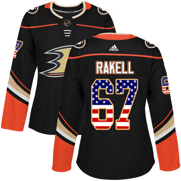 Adidas Ducks #67 Rickard Rakell Black Home Authentic USA Flag Women's Stitched NHL Jersey