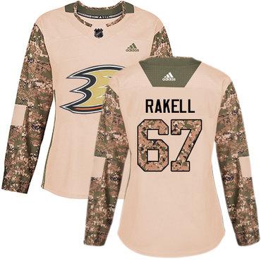 Adidas Ducks #67 Rickard Rakell Camo Authentic 2017 Veterans Day Women's Stitched NHL Jersey