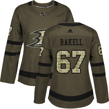 Adidas Ducks #67 Rickard Rakell Green Salute to Service Women's Stitched NHL Jersey