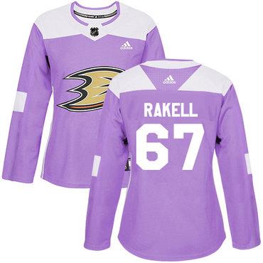 Adidas Ducks #67 Rickard Rakell Purple Authentic Fights Cancer Women's Stitched NHL Jersey