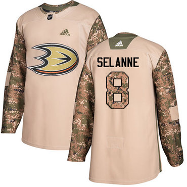 Adidas Ducks #8 Teemu Selanne Camo Authentic 2017 Veterans Day Youth Stitched NHL Jersey