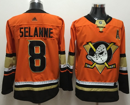 Adidas Ducks #8 Teemu Selanne Orange Authentic Stitched NHL Jersey