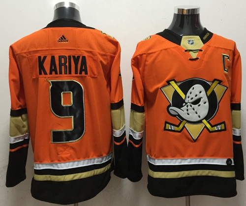 Adidas Ducks #9 Paul Kariya Orange Authentic Stitched NHL Jersey