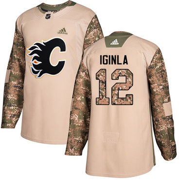 Adidas Flames #12 Jarome Iginla Camo Authentic 2017 Veterans Day Stitched Youth NHL Jersey