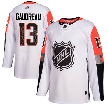 Adidas Flames #13 Johnny Gaudreau White 2018 All-Star Pacific Division Authentic Stitched NHL Jersey