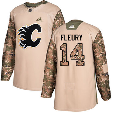 Adidas Flames #14 Theoren Fleury Camo Authentic 2017 Veterans Day Stitched Youth NHL Jersey
