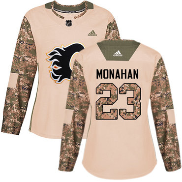 Adidas Flames #23 Sean Monahan Camo Authentic 2017 Veterans Day Women's Stitched NHL Jersey