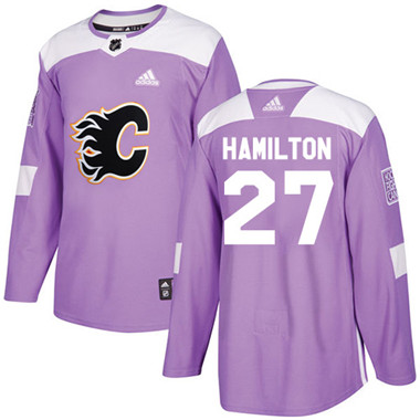 Adidas Flames #27 Dougie Hamilton Purple Authentic Fights Cancer Stitched NHL Jersey