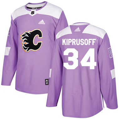 Adidas Flames #34 Miikka Kiprusoff Purple Authentic Fights Cancer Stitched NHL Jersey