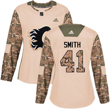 Adidas Flames #41 Mike Smith Camo Authentic 2017 Veterans Day Women's Stitched NHL Jersey
