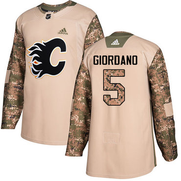 Adidas Flames #5 Mark Giordano Camo Authentic 2017 Veterans Day Stitched Youth NHL Jersey
