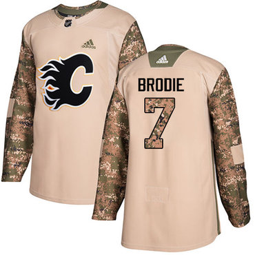Adidas Flames #7 TJ Brodie Camo Authentic 2017 Veterans Day Stitched Youth NHL Jersey