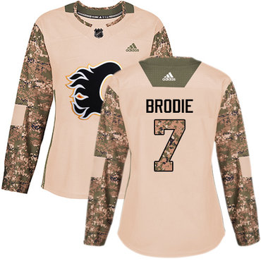 Adidas Flames #7 TJ Brodie Camo Authentic 2017 Veterans Day Women's Stitched NHL Jersey