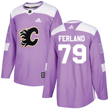 Adidas Flames #79 Michael Ferland Purple Authentic Fights Cancer Stitched NHL Jersey