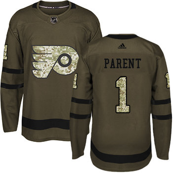 Adidas Flyers #1 Bernie Parent Green Salute to Service Stitched NHL Jersey