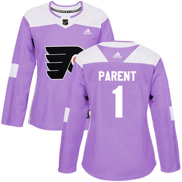 Adidas Flyers #1 Bernie Parent Purple Authentic Fights Cancer Women's Stitched NHL Jersey