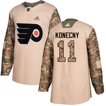 Adidas Flyers #11 Travis Konecny Camo Authentic 2017 Veterans Day Stitched Youth NHL Jersey
