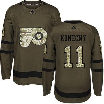 Adidas Flyers #11 Travis Konecny Green Salute to Service Stitched NHL Jersey