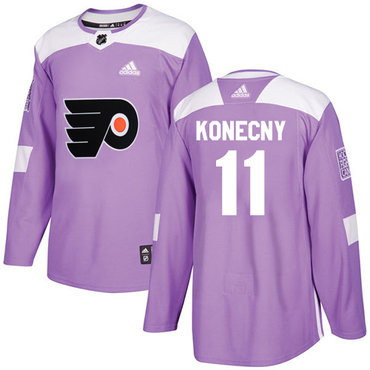 Adidas Flyers #11 Travis Konecny Purple Authentic Fights Cancer Stitched Youth NHL Jersey