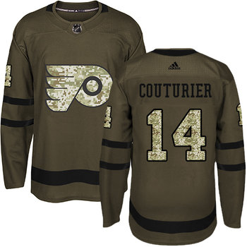 Adidas Flyers #14 Sean Couturier Green Salute to Service Stitched NHL Jersey