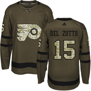 Adidas Flyers #15 Michael Del Zotto Green Salute to Service Stitched NHL Jersey
