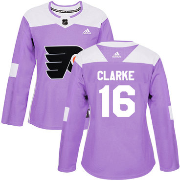Adidas Flyers #16 Bobby Clarke Purple Authentic Fights Cancer Women's Stitched NHL Jersey