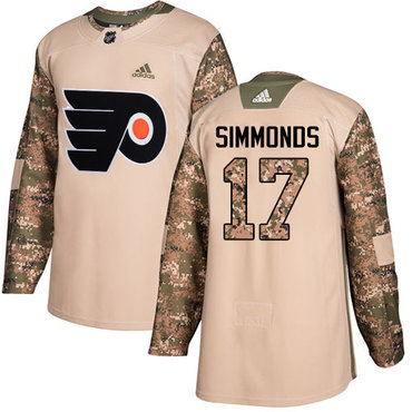 Adidas Flyers #17 Wayne Simmonds Camo Authentic 2017 Veterans Day Stitched Youth NHL Jersey