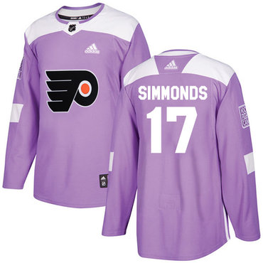 Adidas Flyers #17 Wayne Simmonds Purple Authentic Fights Cancer Stitched Youth NHL Jersey