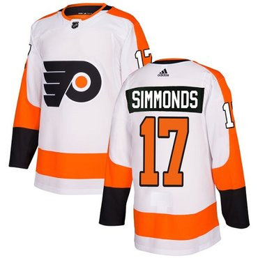 Adidas Flyers #17 Wayne Simmonds White Road Authentic Stitched NHL Jersey
