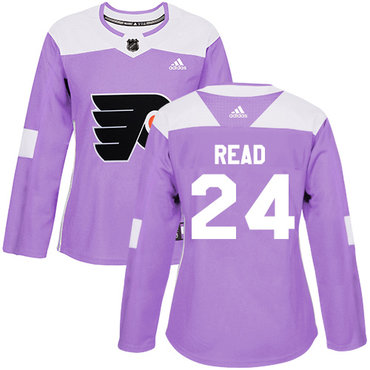 Adidas Flyers #24 Matt Read Purple Authentic Fights Cancer Women's Stitched NHL Jersey