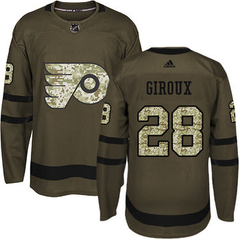 Adidas Flyers #28 Claude Giroux Green Salute to Service Stitched NHL Jersey
