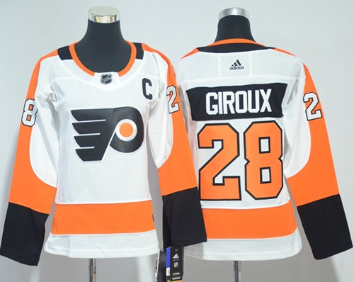 Adidas Flyers #28 Claude Giroux White Road Authentic Women's Stitched NHL Jersey