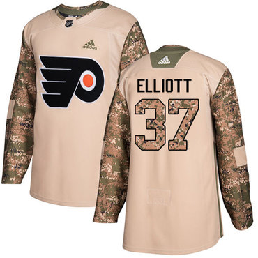 Adidas Flyers #37 Brian Elliott Camo Authentic 2017 Veterans Day Stitched Youth NHL Jersey