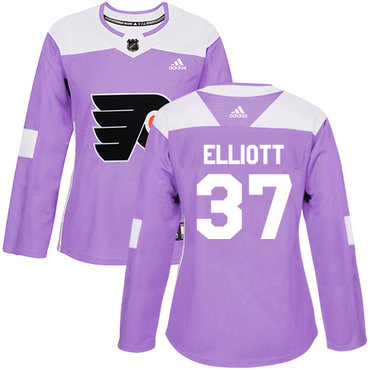 Adidas Flyers #37 Brian Elliott Purple Authentic Fights Cancer Women's Stitched NHL Jersey
